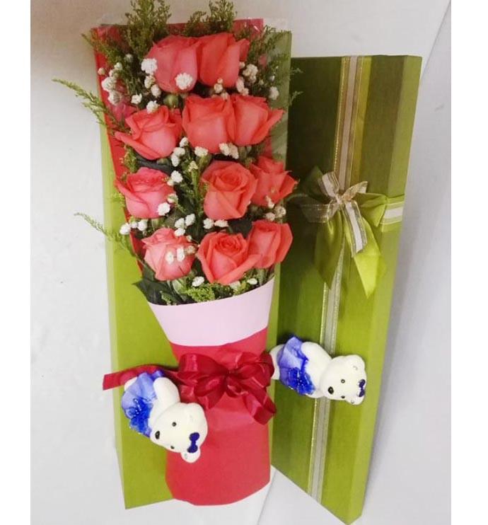 你是我最大的梦想/11枝玫瑰巧克力+苹果:11枝粉色玫瑰礼盒/相濡以沫