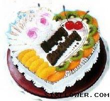 在你身边/6枝香水百合:水果蛋糕/生日快乐