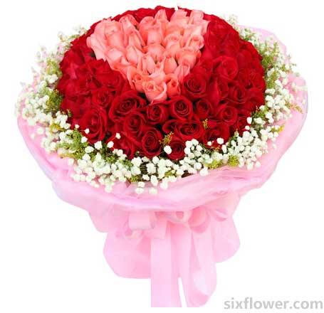真挚的爱和祝福/11枝红色玫瑰:和你相守/99枝玫瑰花束