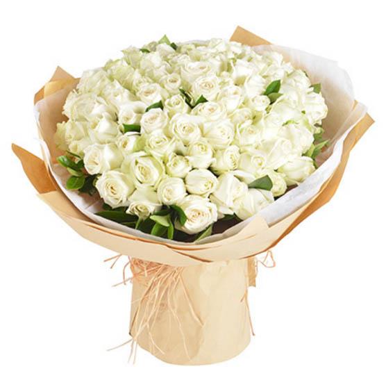 爱你永不变/29枝玫瑰礼盒:惦念你/白玫瑰99枝