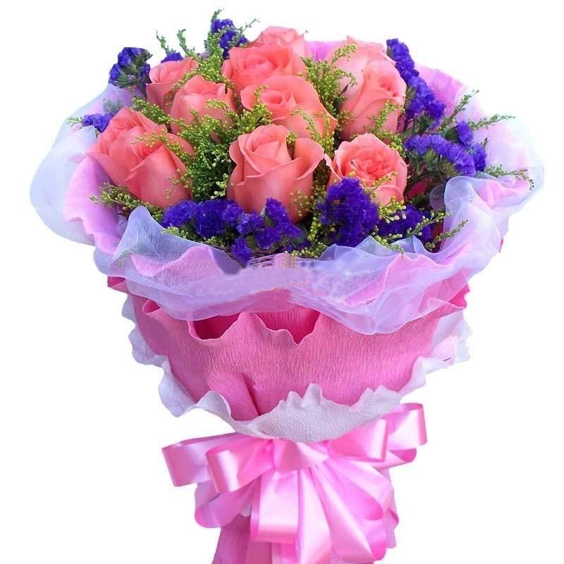 此情惟你独钟/16枝玫瑰+百合+绣球花:牵你的手/11枝粉玫瑰