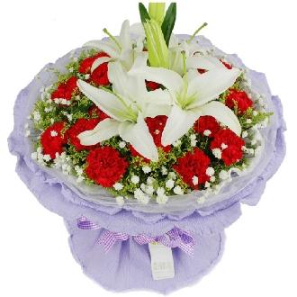 永恒的爱/19枝粉色玫瑰:节日快乐/19枝康乃馨