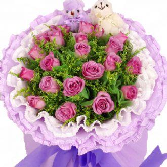 50枝玫瑰/爱死你了:天天好心情/19枝紫玫瑰