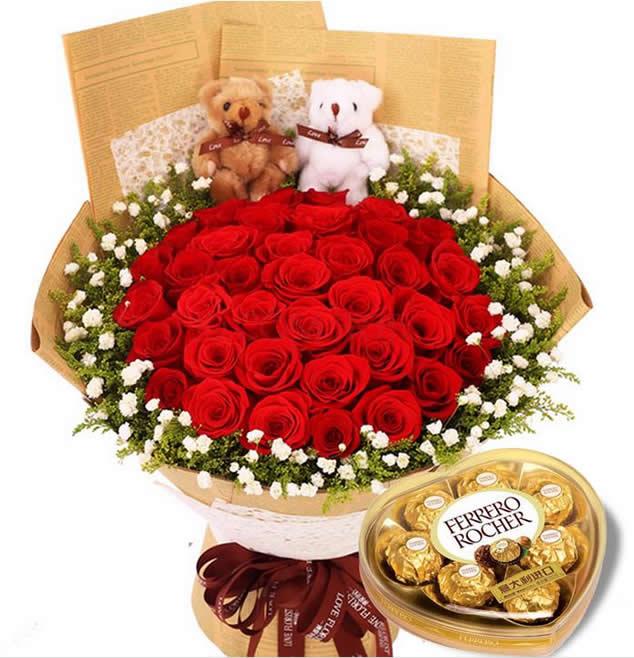 珍藏的幸福/33枝红玫瑰+巧克力