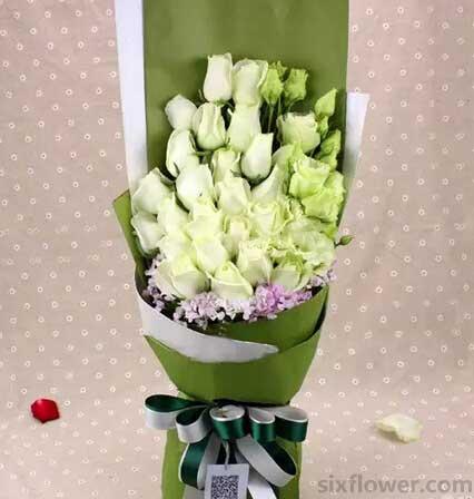 21枝白色玫瑰/清晰脱俗