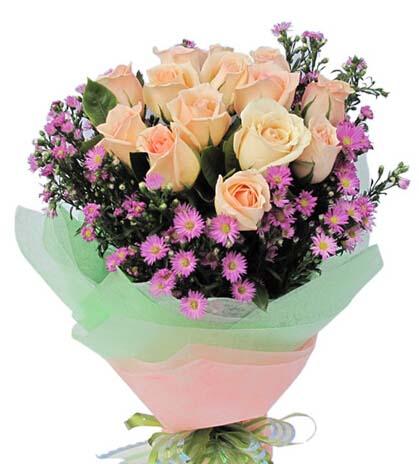 与你一起看尽人间山水/22枝红色玫瑰:真情吐芬芳/12枝香槟玫瑰