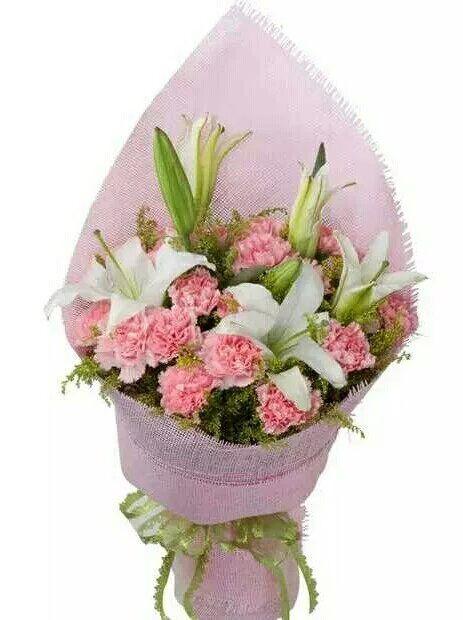 我爱您妈妈/5枝百合玫瑰:16枝粉色康乃馨/丝丝暖意