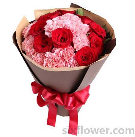 温暖我的心/22枝康乃馨玫瑰