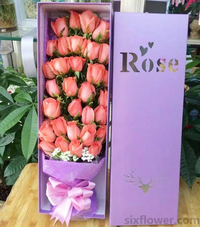33枝粉色玫瑰/携暖意