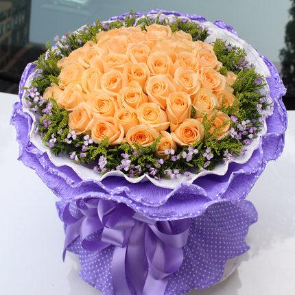 33枝香槟玫瑰/三生至爱