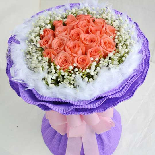 爱的彼岸/19枝粉玫瑰