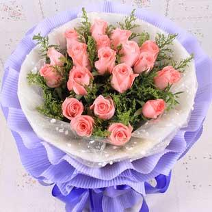 生生世世永相依/99枝蓝白玫瑰:夏日恋曲/19枝粉玫瑰