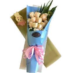 甜蜜爱情/11枝红色玫瑰礼盒巧克力:把你捧在手心里/9枝香槟玫瑰