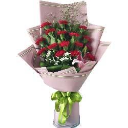 我永远爱您/16枝红色康乃馨