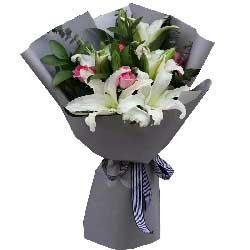 我爱您妈妈/5枝百合玫瑰