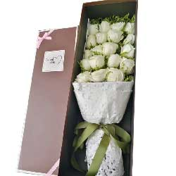 祝福永伴你/19枝白色玫瑰礼盒