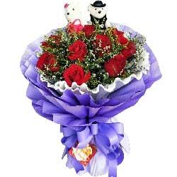 11枝玫瑰/我只在乎你:遇见你我很开心/11枝红色玫瑰