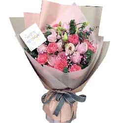 比别人更快乐/12枝粉色玫瑰,12枝粉色康乃馨