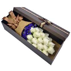 你是我一生的追求/18枝白色玫瑰礼盒