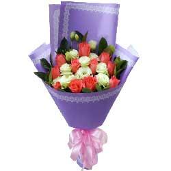 你是我永远的另一半/11枝粉色玫瑰,11枝桔梗