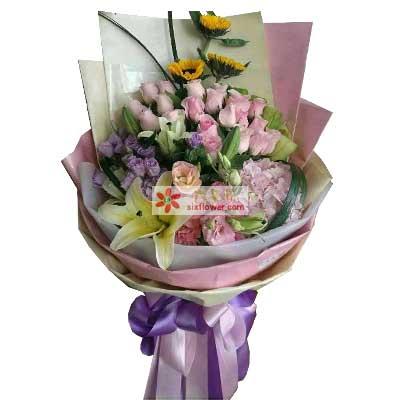 让我分享你的喜怒哀乐/19枝粉色玫瑰,3枝向日葵