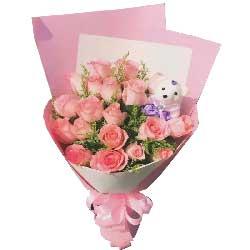 爱你是我今生一辈子的事/18枝粉色玫瑰