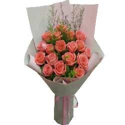 没有你日子特别平淡/18枝粉色玫瑰