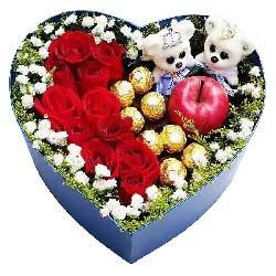 你是我最大的梦想/11枝玫瑰巧克力+苹果