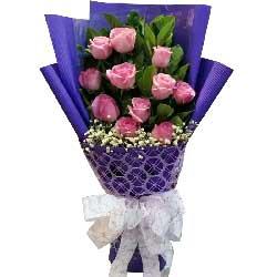 一心一意的爱你疼你/11枝粉色玫瑰