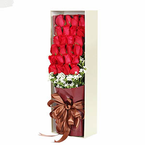 8寸圆形欧式蛋糕:爱你想你/33枝红玫瑰礼盒