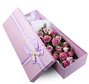 浪漫的季节/19枝紫玫瑰礼盒
