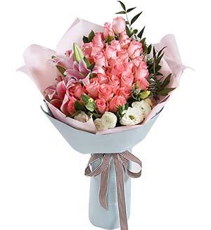 一生美丽/33枝玫瑰巨型花束:一生的爱恋/粉玫瑰29枝