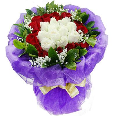 美丽人生/8寸圆形巧克力蛋糕:就爱你/27枝玫瑰