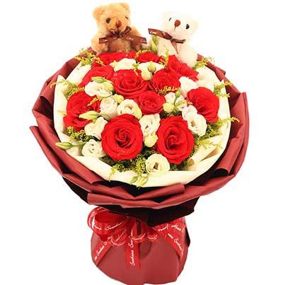 甜蜜的爱情港湾/99枝香槟玫瑰:不能没有你/11枝红色玫瑰