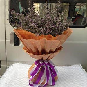12枝白色玫瑰/为您守候:完美爱情/紫色情人草