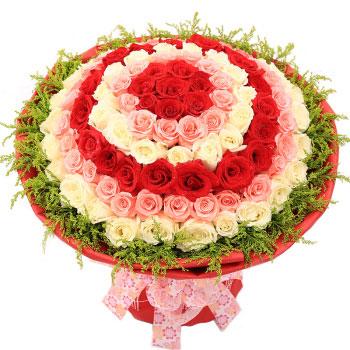 爱一生一世永不移/2只粉色绣球,11枝红色玫瑰:感受到我的温暖/99枝混搭玫瑰