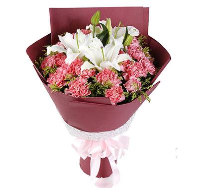 风雨相伴/22枝玫瑰:浓浓的真意/21枝粉色康乃馨