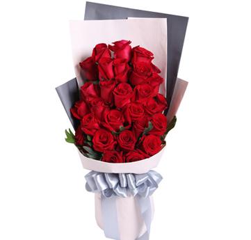 红玫瑰29枝,适量绿叶;