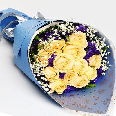 19枝粉玫瑰/深爱着你:爱你在心中/12枝香槟玫瑰