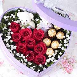 9枝玫瑰巧克力礼盒/执子之手