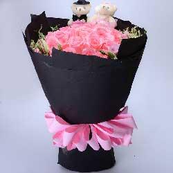 33枝粉玫瑰/爱如缺氧