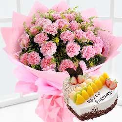 蛋糕/老师生日快乐:19枝康乃馨蛋糕/祝你无虑无忧