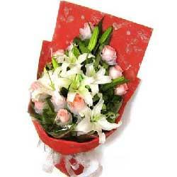 梦里有你/9枝玫瑰礼盒:快乐心情/11枝粉玫瑰百合