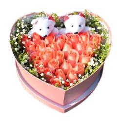 永远呵护你/17枝粉玫瑰巧克力:精品盒装玫瑰33支/公主
