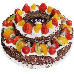 圆形双层鲜奶水果蛋糕