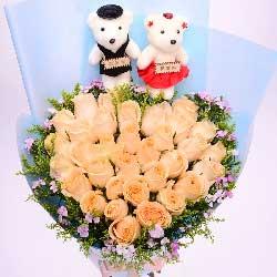 亲爱的一颗心永远为你而跳动/33枝香槟玫瑰