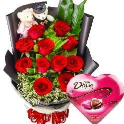 11枝玫瑰巧克力/爱你的心不离不弃