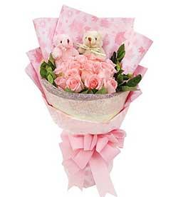 21枝粉玫瑰/情缘