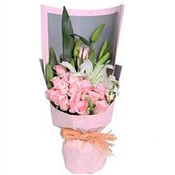 时刻想你/6枝玫瑰,2枝百合礼盒:16枝玫瑰+百合/风和日丽