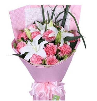健康与快乐永远伴随着您/11枝粉色康乃馨,2枝白百合